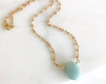 Aqua Stone and Gemstone Beaded Chain Layering Necklace in Gold. Jewelry Gift. Beaded Necklace.