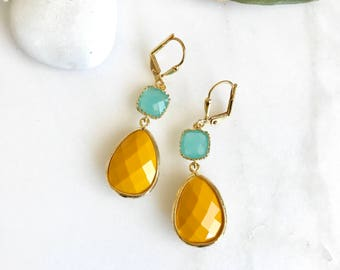Mustard and Aqua Dangle Earrings in Gold. Summer Jewelry. Summer Statement Earrings in Gold.