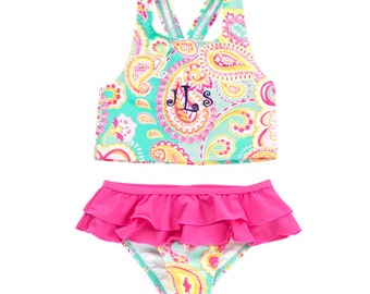 SALE  Monogrammed Girls Swimsuit Paisley Aqua and Pink