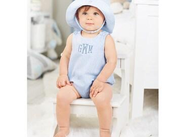 Seersucker Blue Bubble for Baby - Monogrammed/Personalized -Mudpie