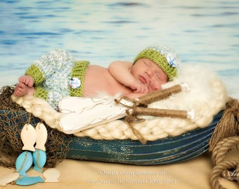 Beach Baby, Nautical Outfit, Baby Boy Hat and Short Set, Newborn Shorts and Hat, Newborn Outfit, Newborn, Baby Boy Beanie, Boy Beach Set