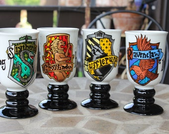Hogwarts House Goblets - Narrow, tall pedestal mugs, black/white, with Gryffindor, Slytherin, Ravenclaw, Hufflepuff crests - Hand painted