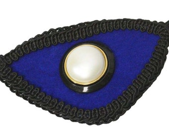 Eye Patch Blue Velvet Pearl Victorian Steampunk Pirate Fashion Cosplay Gothic