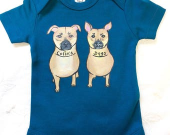 Custom dog of your choice hand painted on Organic Cotton baby bodysuit for baby, baby shower gift