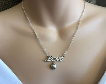 SALE Silver Necklace,Love Necklace,Heart Necklace,Love Jewelry,Heart Jewelry,Silver Jewellery,Silver Heart Necklace