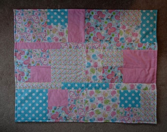 Birds and Butterflies Pastel flannel baby quilt, patchwork baby bedding,  playmat, nursery bedding, baby girl pink