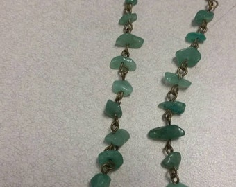 Jade green long earrings