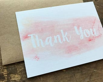 Elegant, Watercolor Thank You Cards with Envelopes, Calligraphy Font, Simple and Modern, Pink, Stationery Set