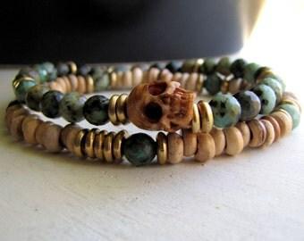 Men's Skull Bracelet  Men's Bracelet Boho Bracelet Yoga Bracelet African Turquoise Healing Bracelet Gift For Boyfriend Gift for Him Mala