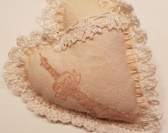 Cottage Chic, Shabby Chic, hand sewn cotton fabric heart, wall decor, lace, Paris, Eiffel tower, delicate beads, crochet edge, textile heart