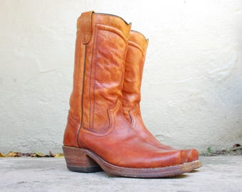 Vintage Womens 9 ~ Mens 6 Durango USA Rust Brown Leather Square Toe Motorcycle Boots Boot Riding Roper Campus Rugged Boho Hipster Moto