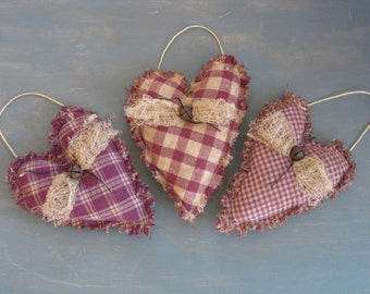 Primitive Valentine Rag Hearts  - 3 Hanging Homespun Grungy Fabric Stuffed Hearts - Primitive Valentine's Day Decor - Wedding or Anniversary