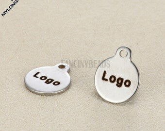10mm mini disc stainless steel Your logo or words here--50 pcs-- custom order Laser Engraved tags charms-G2033-never fade or bauble