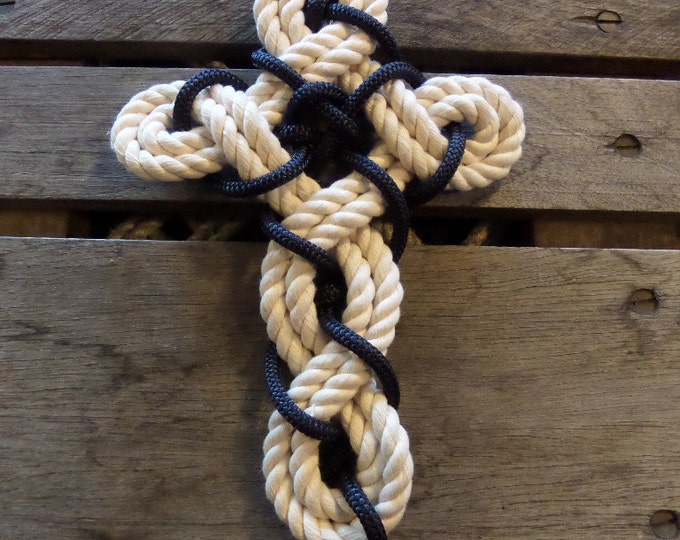 Celtic Cross Rope Cross Knotted Woven Rope Cross Cotton and Navy Rope Nautical Beach Christmas Gift