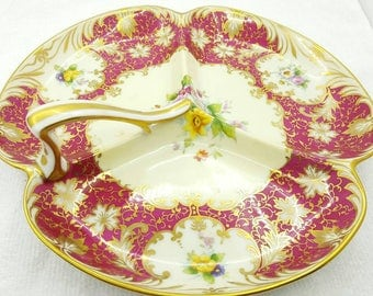 Rare Noritake Three Sectioned  and Handled Gold Trimmed Serving Dish, Floral Decor with Cream Colored Background