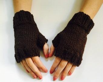 Women's dark brown organic cotton fingerless gloves