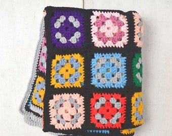 15% OFF Granny Square Blanket Black Multicolored Retro 1960s Vintage Classic Granny Square Afghan Throw