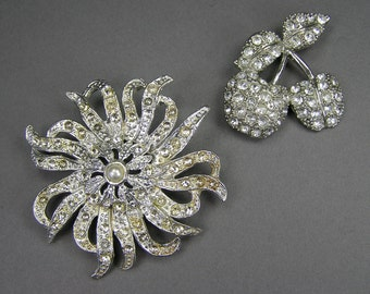 Rhinestone Brooch Lot, Pave Brooch, Repurpose Lot, Clear Rhinestones, Assemblage Supply, Jewelry, Bridal