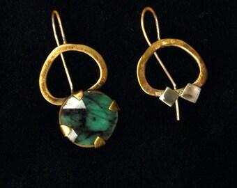 Green Emerald Earrings, Asymmetric Drop Earrings, Large Statement Earrings, Boho Brass Dangle Earrings, Silver Gold Gemstone Earrings