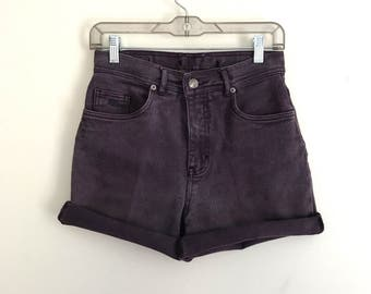 "90s faded plum purple high waisted stretch cutoff shorts 28 - 29"" M"