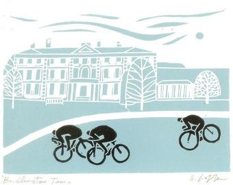 Tour The Yorkshire - Teal Blue - Bridlington Race, Bike Linocut,UK Cycling Art - Bicycle Print - Printmaking - Signed Giuliana Lazzerini