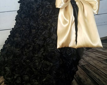 car seat canopy / car seat cover / car seat tent / carseat cover / Black Rosette Gold Satin Cover with Satin bow and inside