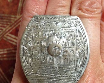 Tuareg Silver Protection Marabout Ring with Tifinagh signs, Inner Diameter  1.8 cm  Size Us 9