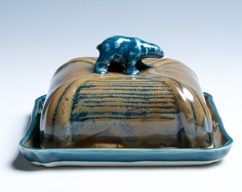 Bear Porcelain Ceramic Butter Dish / Golden Brown and Blue