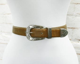 Vintage 90s Southwestern Silver Metal Buckle Western Country Brown Leather Skinny Belt Music Festival M L 28-32""