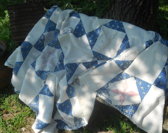 Antique Primitive 8 Point Star Quilt- Charmingly Dilapidated-Tattered and Torn-Outdoor Display Quilt-Cutter Quilt-Pinks/Blues