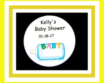 """Sale 10% Off - Personalized Baby Shower Party Favors Baby Bottle Button Pin - 2.25"""" - Set of 10"""