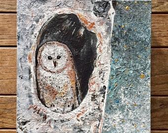 NEW DESIGN: 8x8 Original Acrylic Whimsical Barn Owl Art in Tree Winter Night Universe Stars OOAK by MyImaginationIsYours