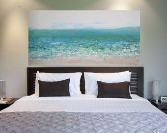 READY TO SHIP: 24x48 Abstract Beach Ocean Sea Pastel Greens Blues Nautical Original Art