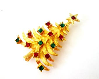 Traditional Christmas Tree Brooch MYLU Red Green Rhinestone Mid Century Holiday Pin