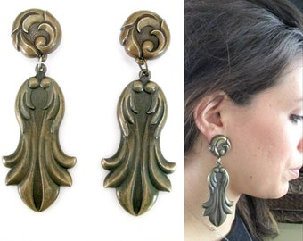 Antiqued Metal 1960s Statement Earrings Big Bold Beautiful Boho Chic