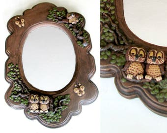 Chalkware Owl Wall Mirror Vintage 1970s Home Decor
