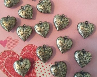 Puffed HEART Charms - FIFTEEN  Double Sided with Flower Stampings for DIY Jewelry - Craft Creations - Detash