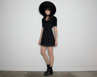 Black Floral Babydoll 90s VINTAGE Mini DRESS Flirt Skirt Style Size XS/S
