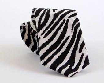 Zebra striped neck tie. Black and white zebra necktie
