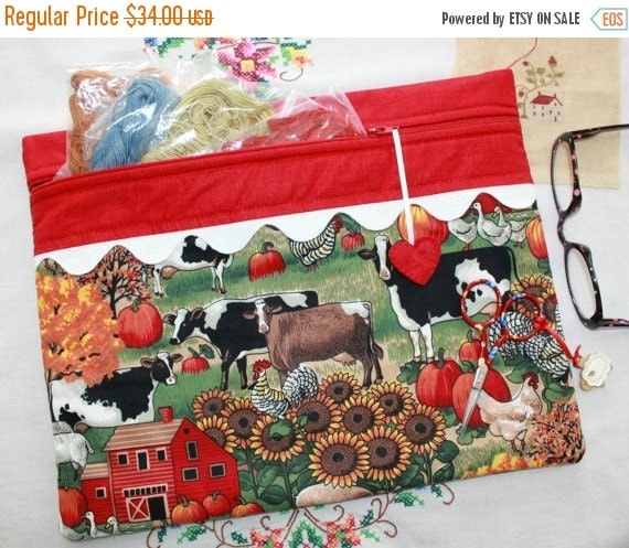 SALE Autumn Farm Cross Stitch, Sewing, Embroidery Project Bag