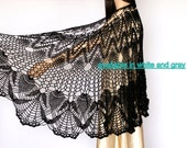 Black large shawl Black shawl Wraps Shawl Crocheted shawl wrap Women's Clothing Accessories crochet shawl
