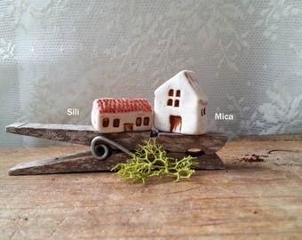miniature porcelain house, enchanted garden, fairy garden house, terrarium decor, miniature house, tiny house, stucco house, fairytale house