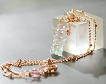 Carved Pink Tourmaline Rose Gold Filled Necklace by Agusha.  Tourmaline Necklace. Dainty Gemstone Necklace