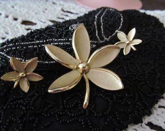 Vintage Crown Trifari Brooch Earrings Demi Parure Jewelry Set