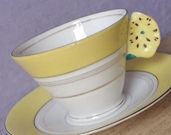 Vintage 1930's Art Deco Teacup, Flower Handle tea cup, Yellow tea cup, Japanese tea cup, white Porcelain tea cup, Antique teacup,