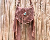 Chocolate and bison mixed fringe bag with turquoise /bohemian /gypsy bag /fringe purse