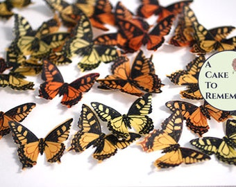 "24 yellow and orange edible butterflies. 1.5"" across, garden wedding cake topper, vegan wafer paper butterflies for cupcake decorating."