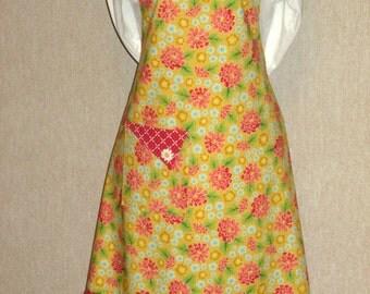 Adult Woman Full Bib Apron - Premium Quilting Moda Summerfest Yellow Red Flower, Moda Summerfest Diamonds Flounce & Flaps, White Buttons