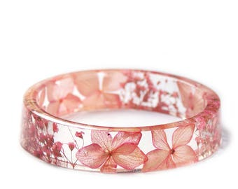 Pink Flower Bracelet -Real Flower Jewelry- Flower Jewelry- Jewelry with Real Flowers- Pink Flowers- Resin Jewelry- Pink Bracelet