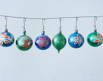 Lot of 6 Green and Blue Hand Painted Red Vintage Christmas Glass Ornaments With Mistletoe